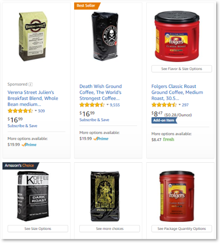 Death Wish Coffee Beating Folgers on Amazon